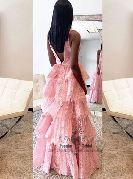Deep V-neck Pink Lace Prom Dresses, V-back Prom Dresses, Lovely Prom Dresses, BG0379