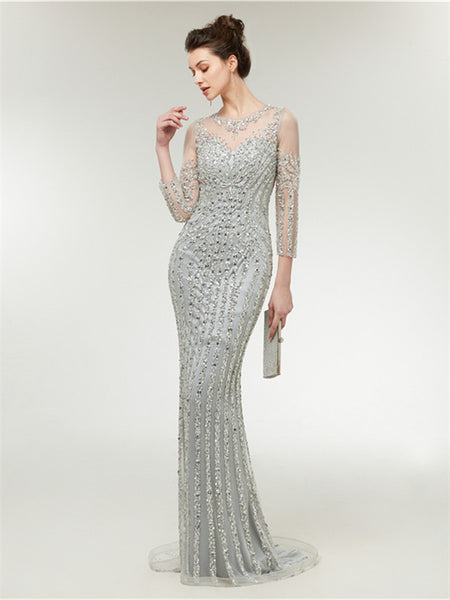 Silver Sequin Illusion 3/4 Sleeves Prom Dresses With Trailing,PDY0657