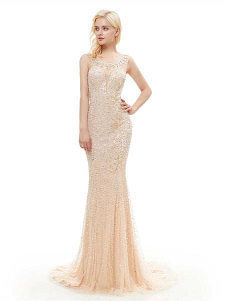 Scoop Illusion Sequin Applique Zipper Closure Back Yarn Mermaid Gown, Prom Dresse,PDY0664