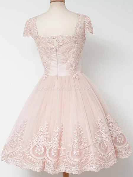A-line Square-neck Cap-sleeve Lace Top Tulle Homecoming dresses, Princess Short Dress, EPR0002