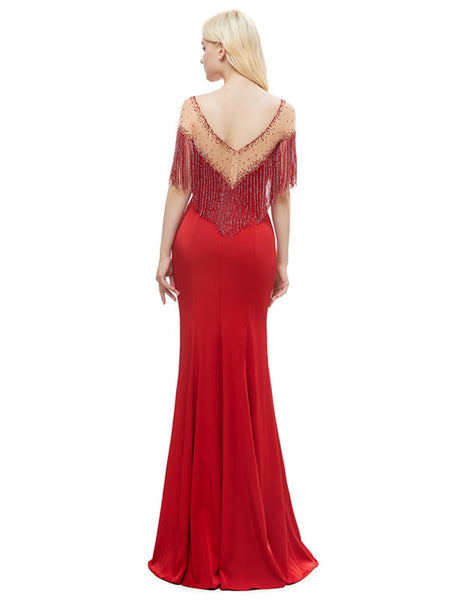 Bateau Illusion Tassel Tulle Zipper Closure Appilque Mermaid Hem Prom Dresse,PDY0667