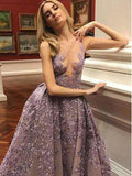A-line V-neck Purple Lace Evening Dresses,Cheap Prom Dresses,PDY0634