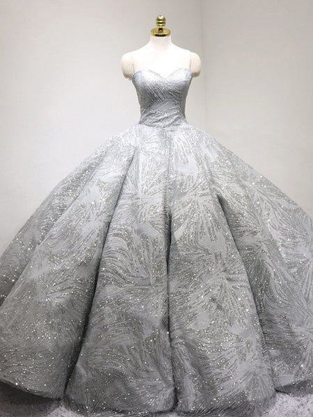 Newest Grey Sweetheart Ball Gown Rhinestone Beaded Wedding Dresses, Gorgeous Bridal Gown, BG0341
