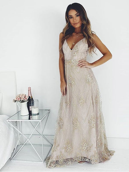 A-line Spaghetti Straps V-neck Gold Lace Evening Dresses ,Cheap Prom Dresses,PDY0616