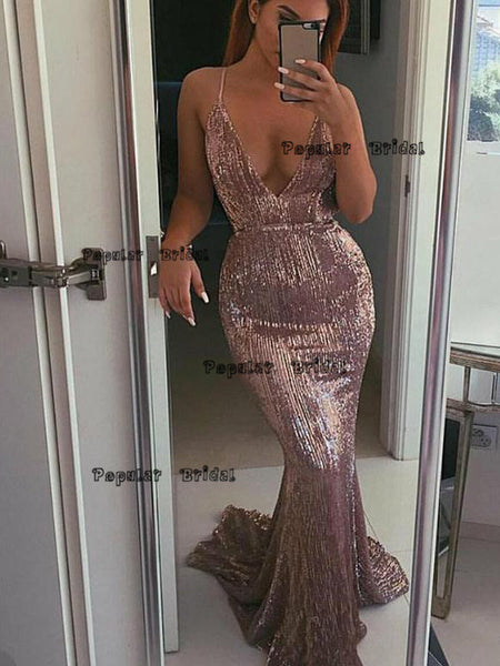 Mermaid Pink V-neck Spaghetti Straps Evening Dresses ,Cheap Prom Dresses,PDY0624