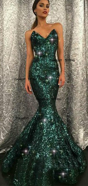 Sweetheart Mermaid Green Long Evening Dresses ,Cheap Prom Dresses,PDY0617