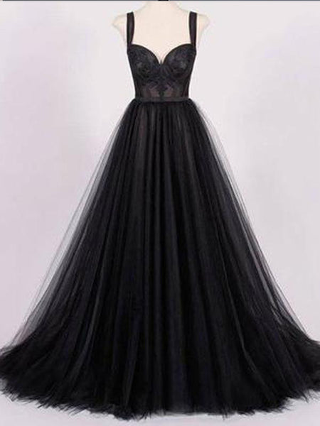 Strap Black Appliques A-line Tulle Prom Dresses, Affordable Evening Dresses, BG0354