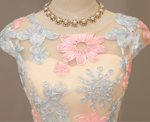 Cute Cap Sleeve Light Blue Pink Flower A-line Cheap Popular Homecoming Dresses, HD071