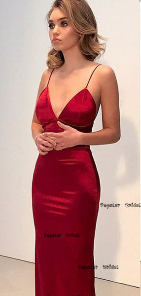 Simple Backless Dark Red Mermaid Long Prom Dresses,Cheap Prom Dresses,PDY0651
