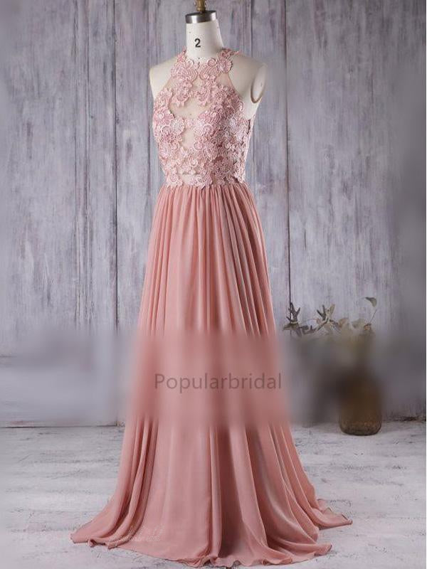 a217ac2c3c Lace Top See Through Dusty Rose Long A-line Chiffon Prom Bridesmaid Dr –  PopularBridal