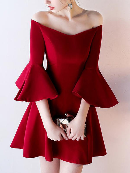 Off-shoulder Sexy Half-sleeve with Ruffles Zipper Closure Classic Formal Homecoming Dresses , HD116