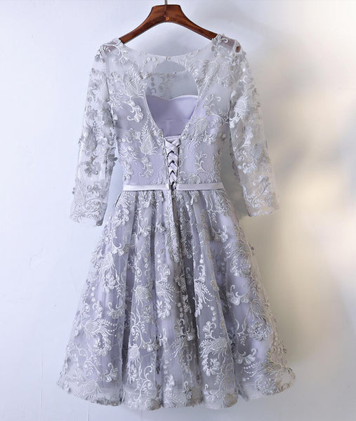 New Arrival Gorgeous Lace Half Sleeve Open Back A-line Cheap Homecoming Dresses, HD021