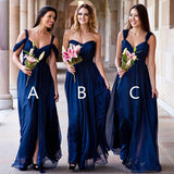 Mismatched Different Styles Chiffon Royal Blue Cheap Pleating Formal Long Wedding Party Bridesmaid Dresses, BG0070