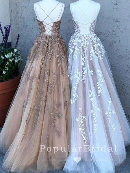 New Arrival A-Line Spaghetti Straps Cross Back Lace Cheap Long Prom Dresses,POPD0010