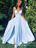 Simple A-Line Deep V-Neck Sleeveless Cheap Long Bridesmaid Dresses With Slit,POWG0010