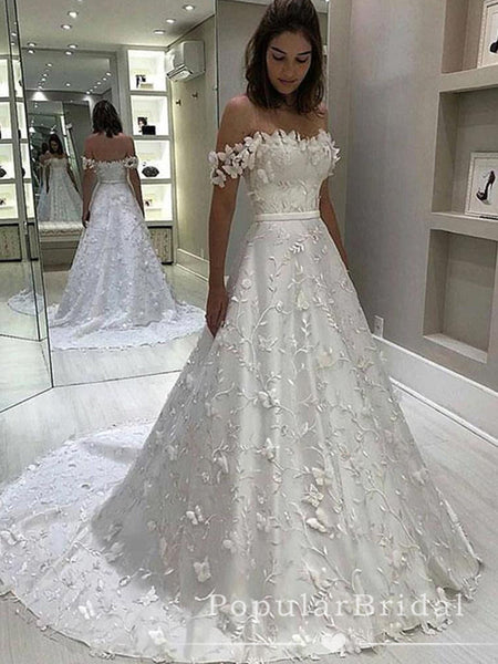 Elegant A-Line Off The Shoulder Sweep Train Wedding Dresses With Lace,POWD0010