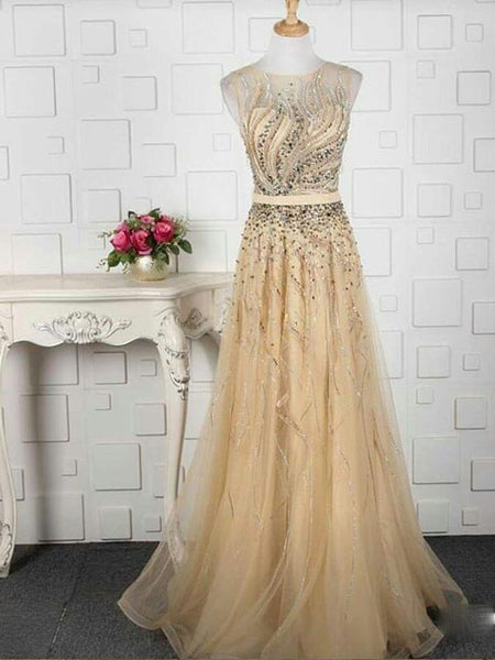 A-line Beaded Tulle Evening Dresses ,Cheap Prom Dresses,PDY0608