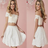 2 Pieces Off Shoulder White Lace Homecoming Dresses, Popular Short Prom Dress, HD051