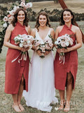 A-Line High Neck Sleeveless Tea Length Bridesmaid Dresses With Slit,POWG0011