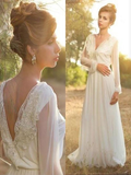 Long Sleeve Unique Casual Custom Cheap Beach Wedding Dresses, WD315