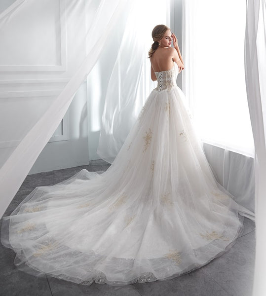 Sweetheart Lace Up Back Organza With Cathedrial Train Wedding Dresses, WDY0305