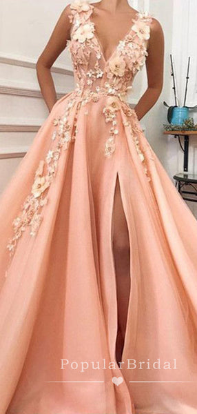 A-Line Deep V-Neck Sleeveless Split Side Long Prom Dresses With Appliques,POPD0013