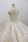 Round Neckline A-line Lace Appliques Cap Sleeve Wedding Dresses, High Quality Handmade Bridal Gown, BG0342