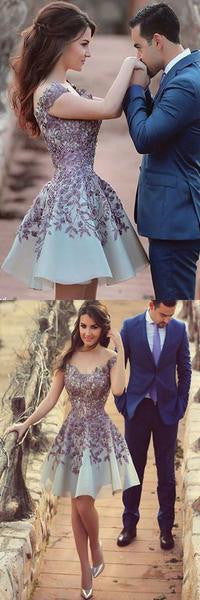 Off Shoulder Light Purple Lace Elegant Short Prom Dress, Popular Homecoming Dresses, HD058