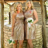 Mismatched Gold Sequin One Shoulder Shinning V-Neck Knee-Length Cheap Bridesmaid Dresses, BG0072