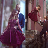 Gorgeous Plum Rhinestone Beaded Long Sleeve Cute Homecoming Dresses, HD064