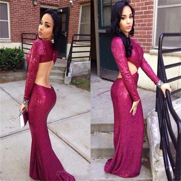 Gorgeous Long Sleeve Sexy Plum Sequin Long Mermaid Prom Dresses, BG0125