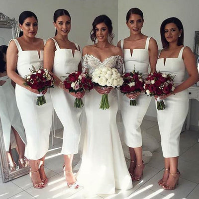 Simple Cheap Unique White Off Shoulder Straight V Neck Sexy Tea Length Bridesmaid Dresses, BG0119