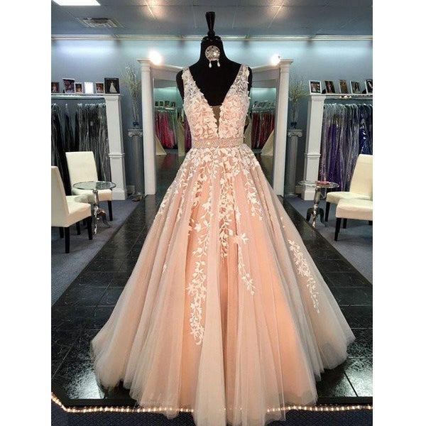 Pink Tulle Appliques V-neck Sleeveless Long A-line Popular Prom Dresses, BG0126
