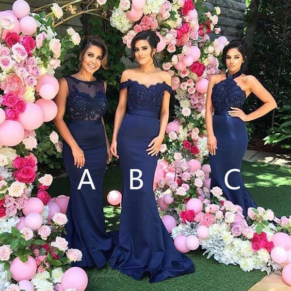 Mismatched Sexy Different Styles Mermaid Royal Blue Long Affordable Wedding Bridesmaid Dresses, BG0075