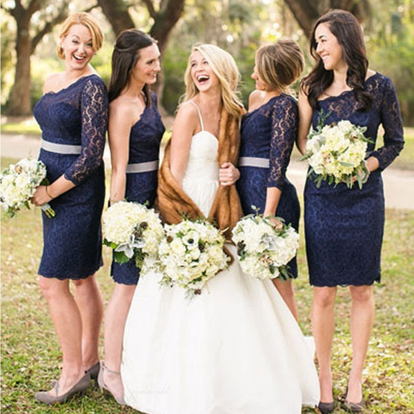 Elegant One Shoulder Long Sleeve Lace Navy Blue Knee Length Short Cheap Bridesmaid Dresses, BG0053