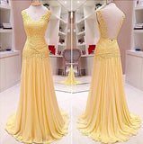 Elegant V-Neck Lace Backless Long A-line Yellow Chiffon Prom Dresses, BG0129