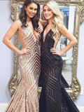 Deep V-neck Sequin Prom Dresses, Mermaid Prom Dresses, Long Prom Dresses, Prom Dresses, BG0411