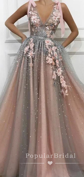 Charming A-Line Deep V-Neck Ombre Tulle Long Prom Dresses With Appliques,POPD0014