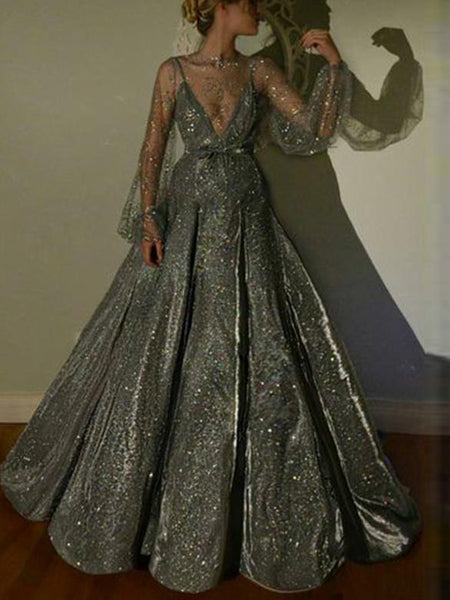Elegant Jewel Long Sleeve Sliver Ball Gown,Cheap Prom Dresses,PDY0632