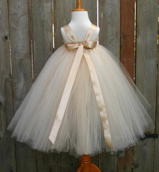 Satin Strap Tulle Flower Girl Dresses, Satin Flower Lovely Little Girl Dresses,  FG025