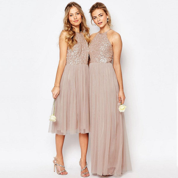 Charming Inexpensive Sequin Top Tulle Halter Sparkly Gorgeous Short Long Wedding Party Bridesmaid Dresses, BG0037
