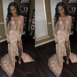 Sexy Deep V-neck See Through Shinny Lace Beaded Sexy Side Slit Long Sleeve Prom Dresses, BG0134