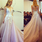 V-neck Appliques Long A-line Sleeveless Tulle Prom Wedding Dresses, BG0136