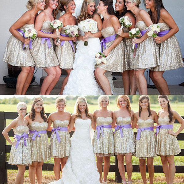 Sparkly Sequin Sweet Heart Shinning Knee-Length Cheap Custom Make High Quality Short Bridesmaid Dresses for Wedding Party, BG0121