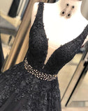 Black V-neck Lace Appliques A-line Prom Dresses, Beaded Prom Dresses, BG0439
