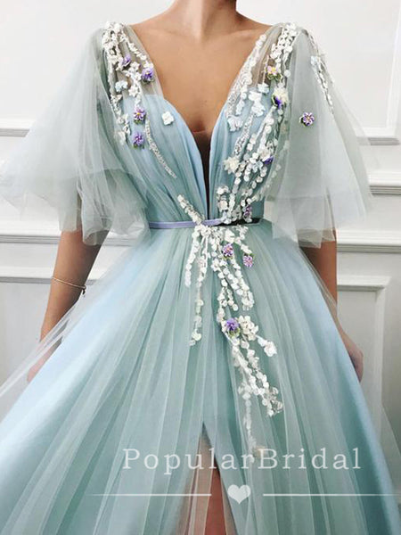New Arrival A-Line V-Neck Half Sleeves Split Side Tulle Long Prom Dresses With Appliques,POPD0015