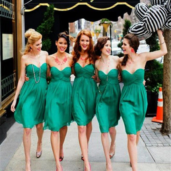 Simple Cheap Chiffon Sweet Heart Knee Length Green Bridesmaid Dresses for Summer Beach Wedding Party, BG0118