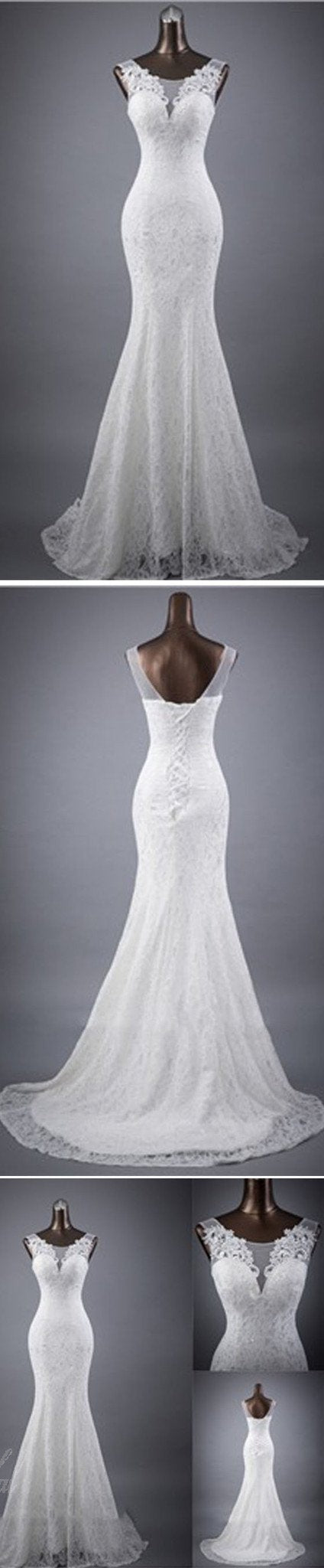 Elegant Sleeveless Mermaid Lace Up Popular White Lace Wedding Dresses, BG0175