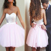 Silver Sequin Sweetheart Pink Tulle Cute Homecoming Dresses with Bow , HD063