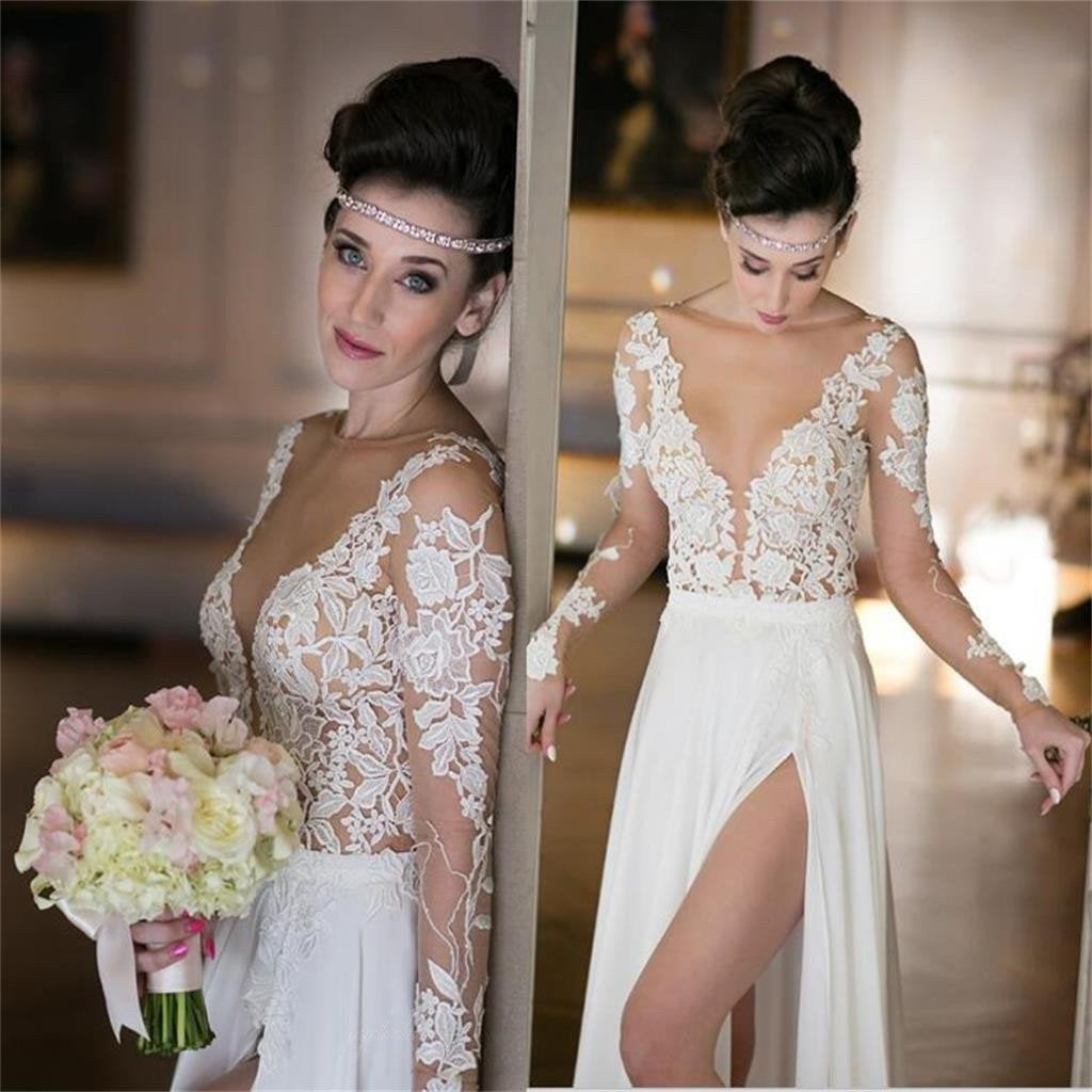 90f03d8ca931 Long Sleeve White Lace Sexy See Through Side Slit White Chiffon Wedding  Dresses, BG0146